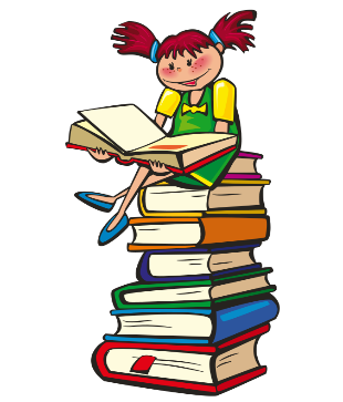 cartoon girl sitting on a pile of books