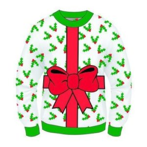 Sweater with holly leaves and a large bow