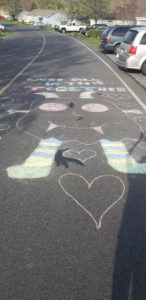 Picture draw on road
