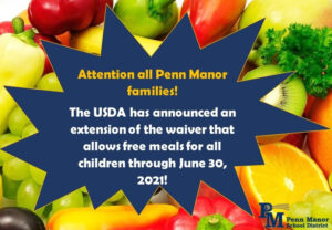 Flyer stating free meals will continue through end of school year