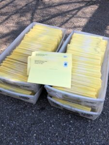 yellow mailers in postoffice boxes